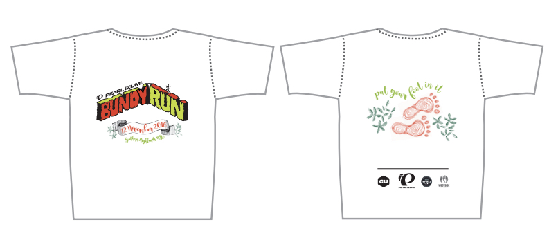 The Pearl iZUMi Bundy Run 2016 edition t-shirt.